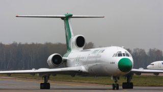 Un TU-154 parecido al avión desaparecido en Rusia.