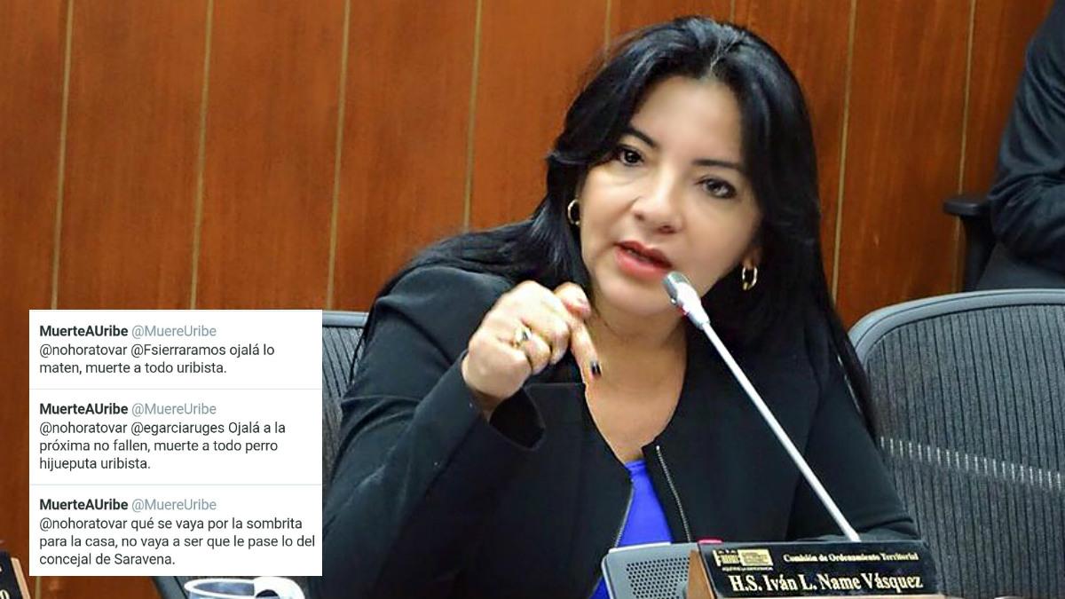 La senadora del CD colombiano Nohora Tovar, y las amenazas recibidas por Twitter.