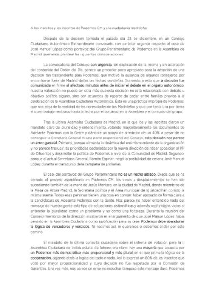 Los errejonistas critican el cese de López y acusan a Espinar de crear un Podemos