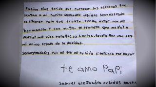 Carta de Samuel Cubides, de 7años, pidiendo a Dios que los secuestradores de su padre, Alejandro Cubides, lo liberen pronto.
