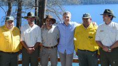 Mauricio Macri durante su visita a Villa Traful.