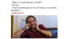Un tuit bromea sobre las restricciones al tráfico con Iglesias y Errejón como protagonistas. Foto: Twitter
