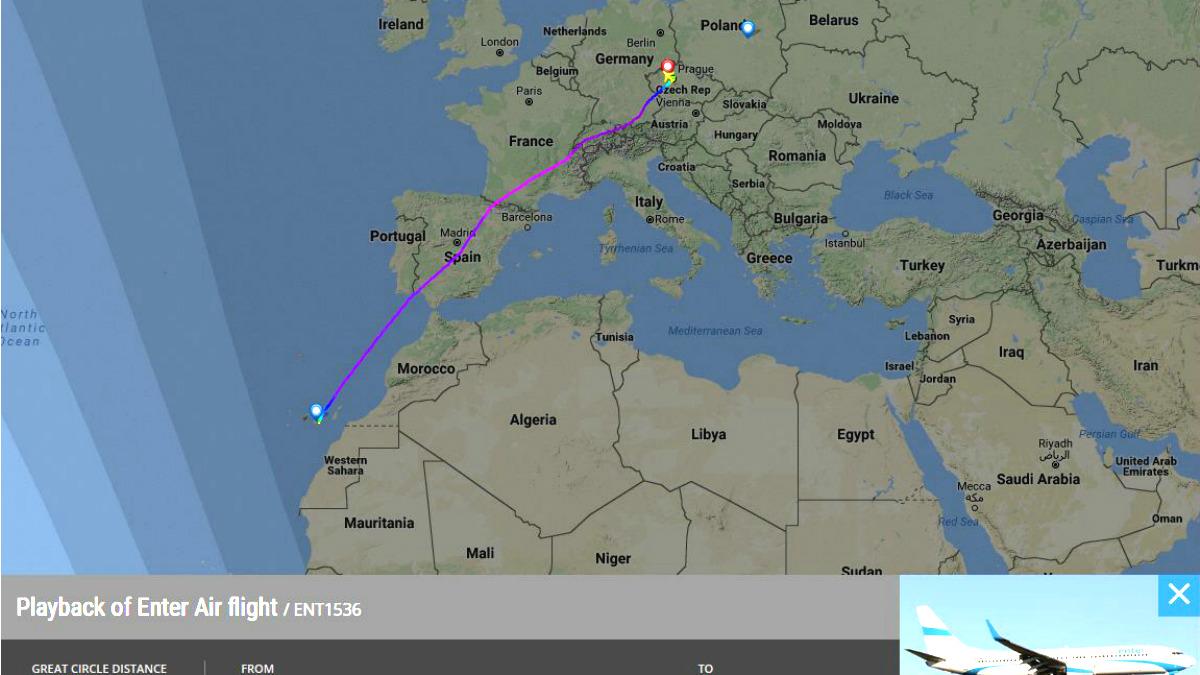 Recorrido del vuelo ENT1536, capturado en FlightRadar24.