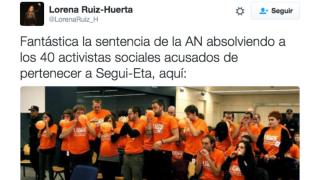 El mensaje publicado por Lorena Ruiz-Huerta en junio de 2014.