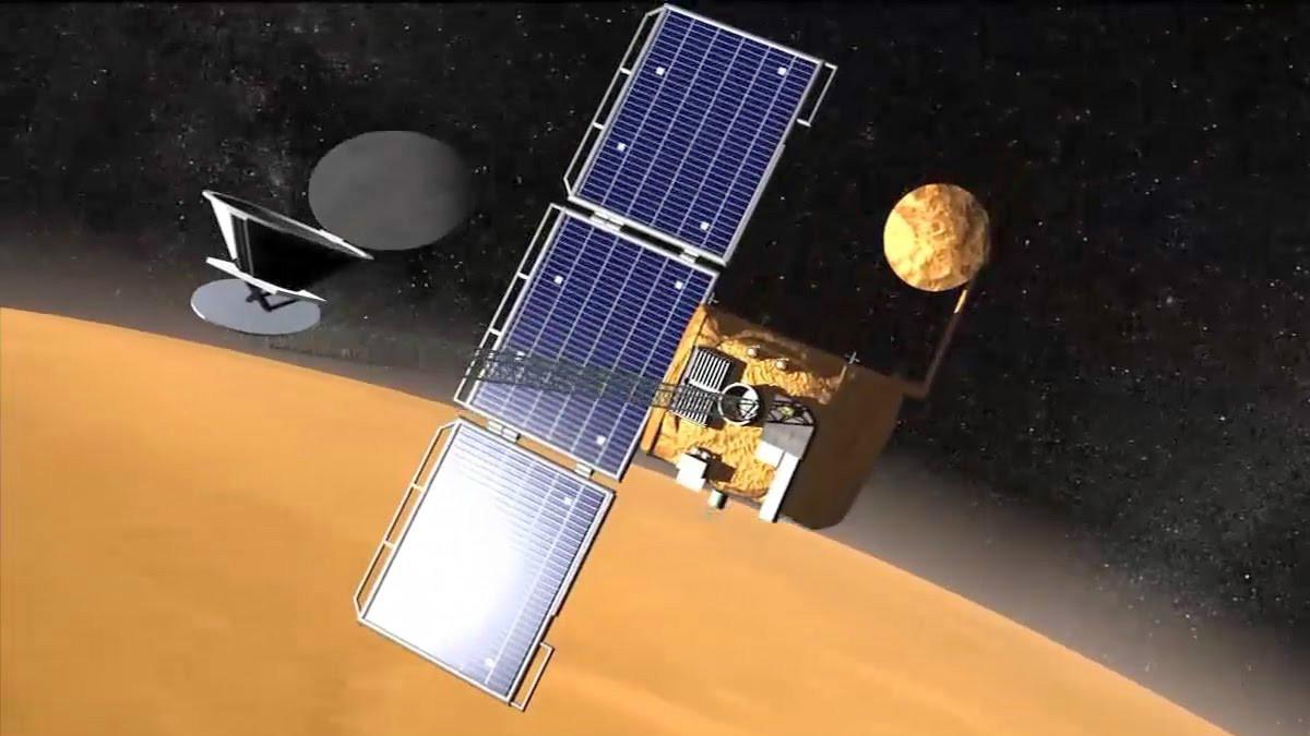 La nave robótica espacial Mars Odissey según una imagen realizada por ordenador facilitada por la NASA.
