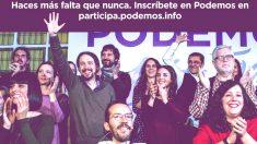 El cartel (sin Errejón) con el que Pablo Iglesias invita ahora a inscribirse en Podemos.