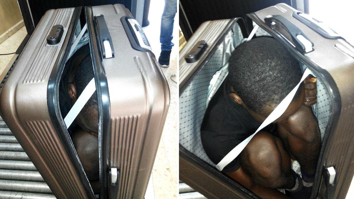 El inmigrante dentro de la maleta (Foto: Efe).