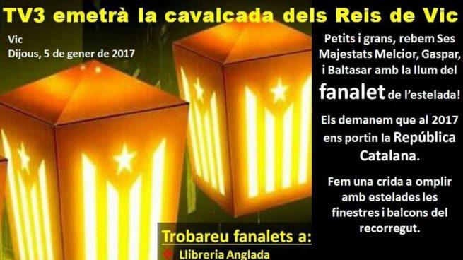 ANC y Òmnium piden a los catalanes que «iluminen con esteladas» la Cabalgata de Reyes
