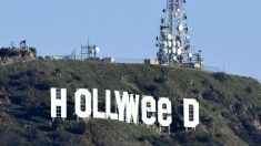 El icónico cartel de Hollywood manipulado para celebrar la legalización de la marihuana para uso recreativo en el estado de California. Foto: AFP
