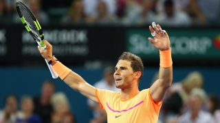 Rafa Nadal celebra su victoria contra Dolgopolov en Brisbane. (Getty)