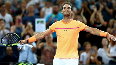 Nadal celebra la victoria ante Zverev. (Getty)