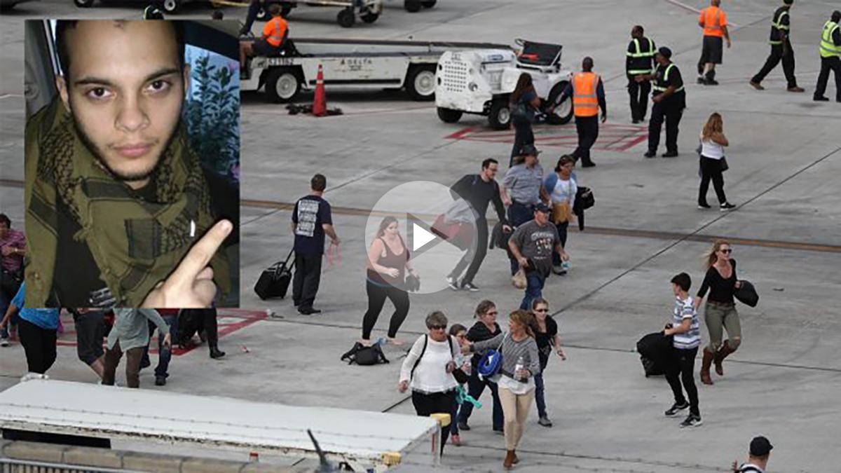 Esteban Santiago y gente huyendo en el aeropuerto de Fort Lauderdale.