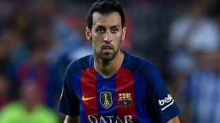 Sergio Busquets, durante un encuentro con el Barça