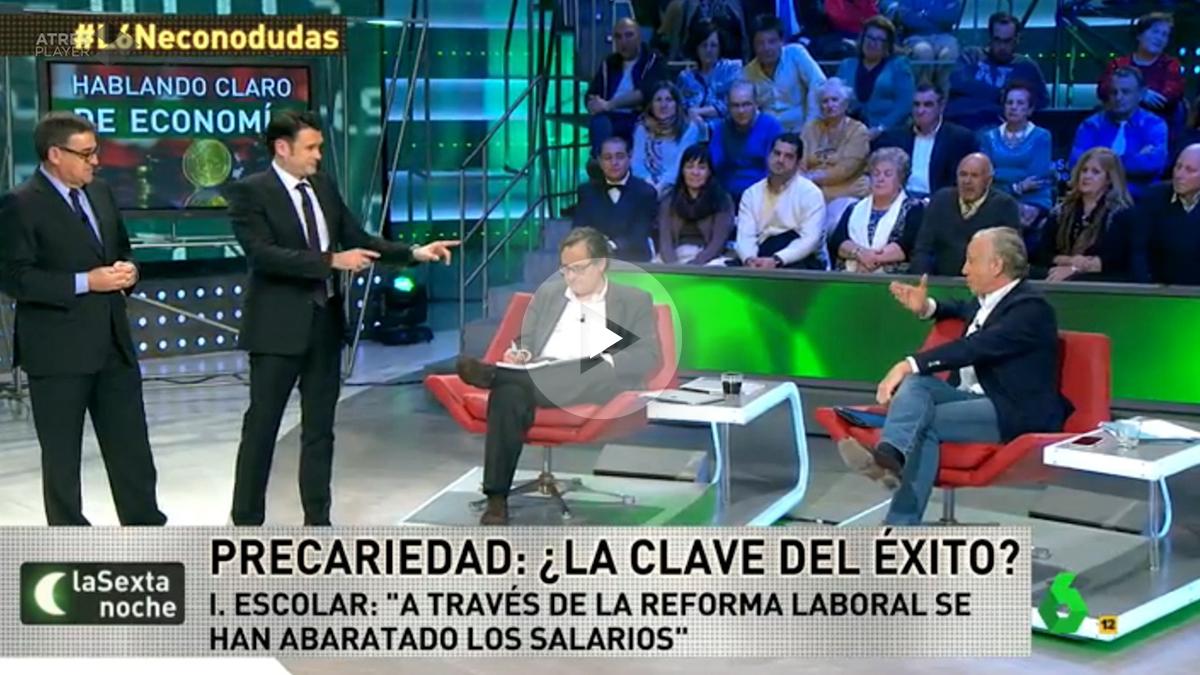 El economista Juan Navarro y Eduardo Inda, en La Sexta Noche.