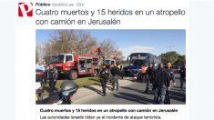 Tuit de Público donde llama al atentado «atropello». (Foto: OKD)
