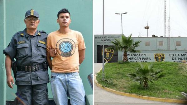 Giancarlo Delgado, el gemelo drogado para la huida del violador, tras ser detenido en el penal de Ancón I (Perú).