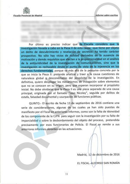 Escrito del fiscal, Alfonso San Román, en el caso del `pequeño Nicolás'.