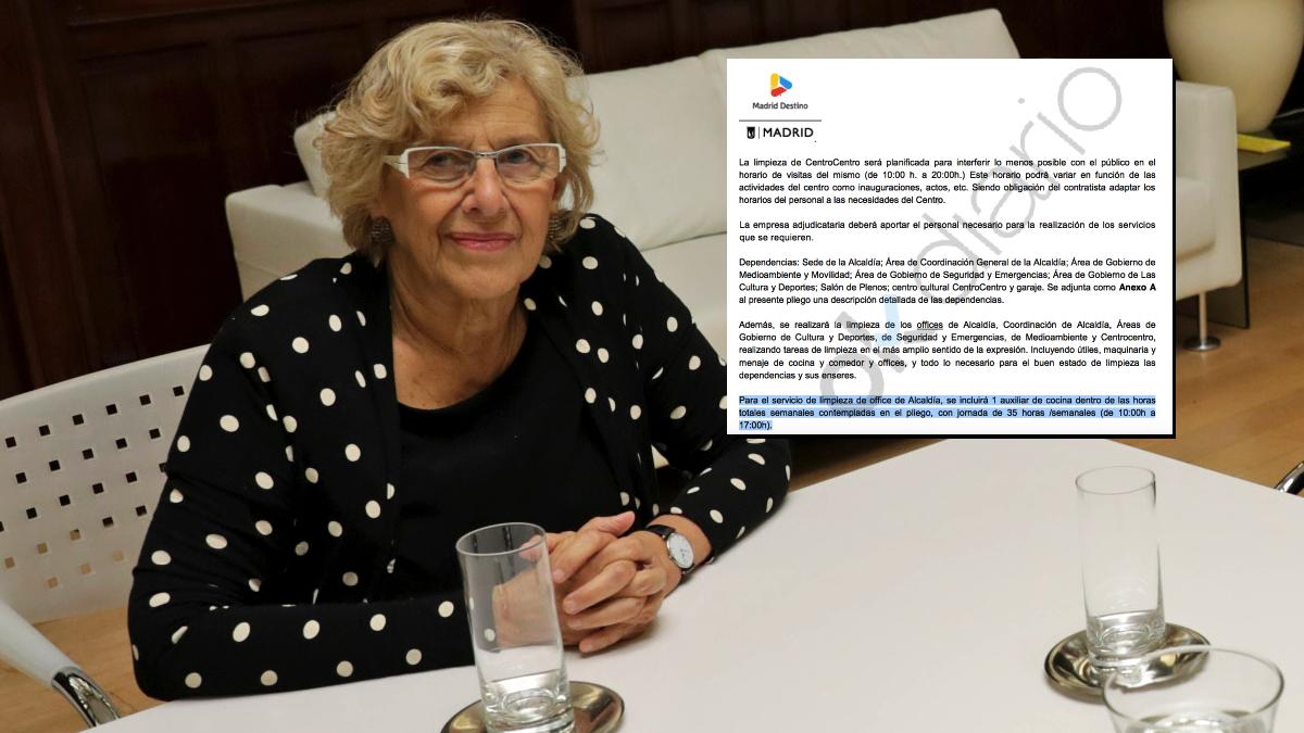 Manuela Carmena en su despacho en el Palacio de Cibeles. (Foto: Madrid)