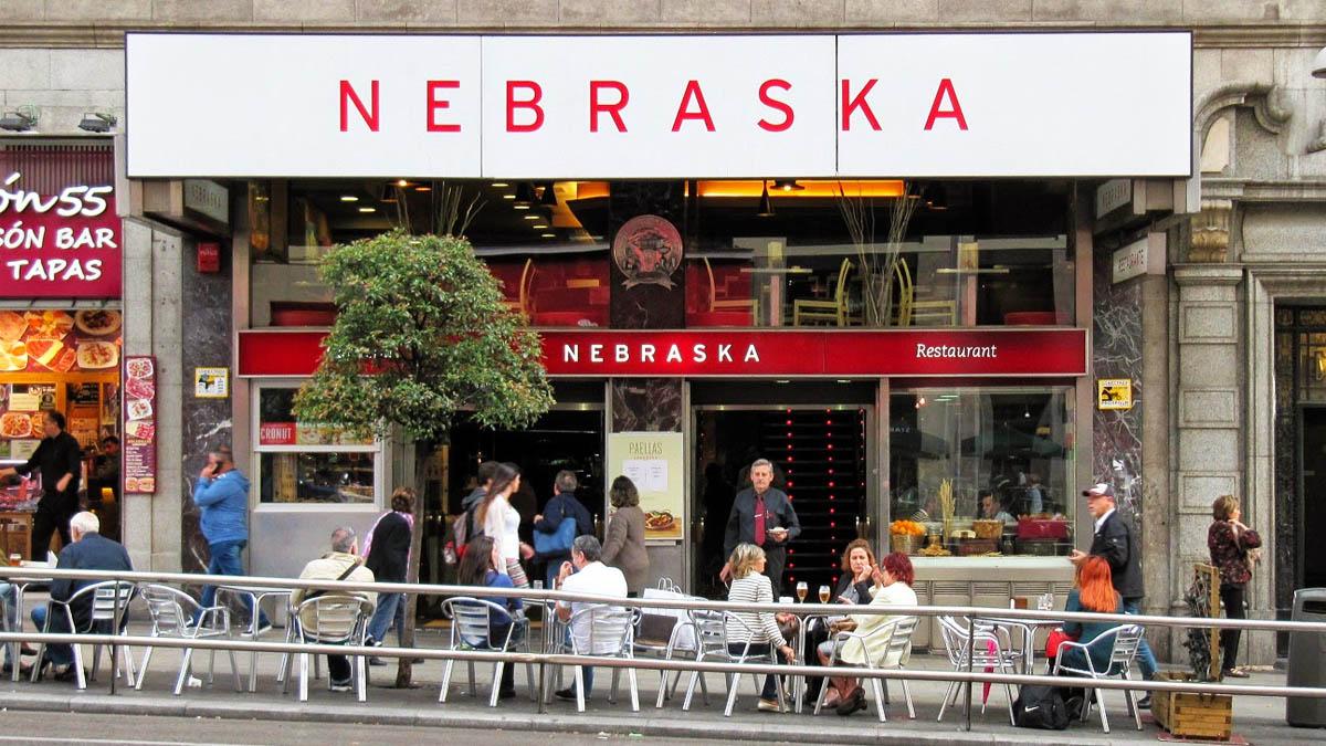 Cafetería Nebraska en la Gran Vía de Madrid.