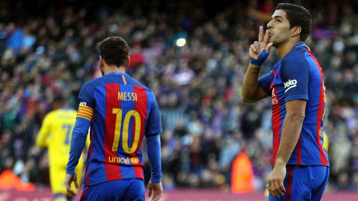 Luis Suárez y Messi se merendaron a Las Palmas. (EFE)