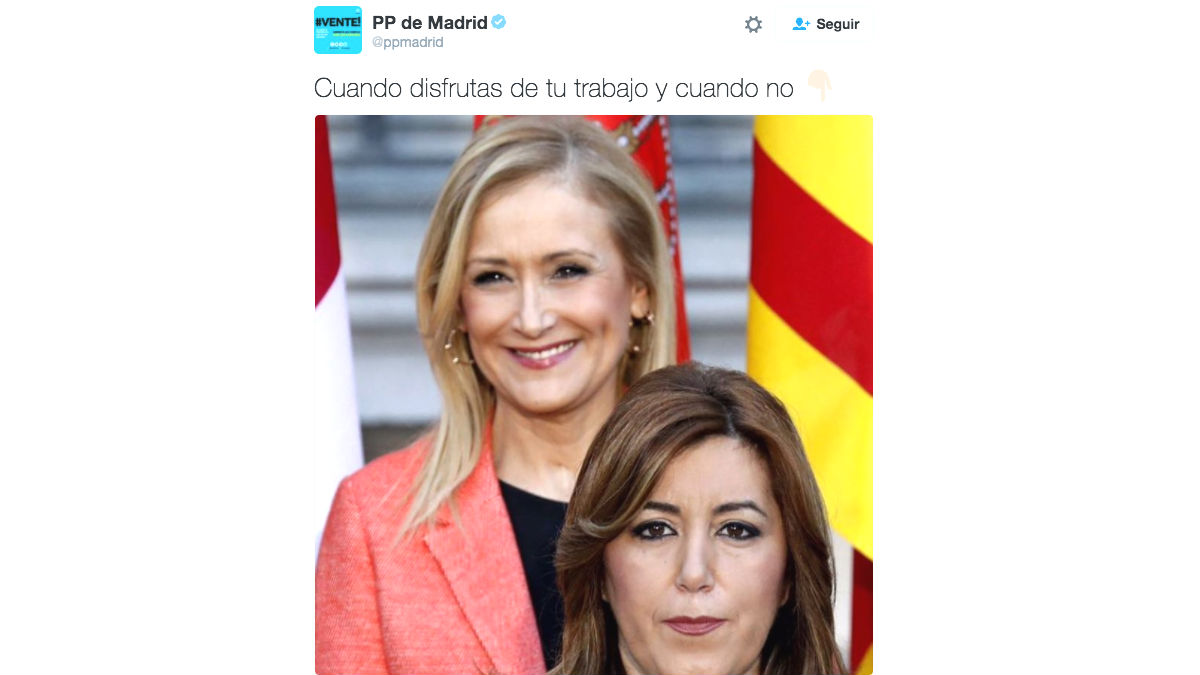 El tuit del PP de Madrid en el que aparecen Cristina Cifuentes y Susana Díaz (Foto: Twitter)