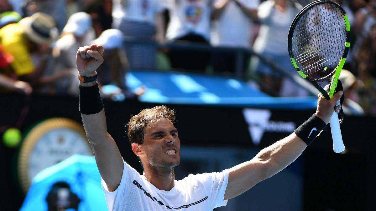 Rafa Nadal celebra su victoria ante Mayer. (Getty)