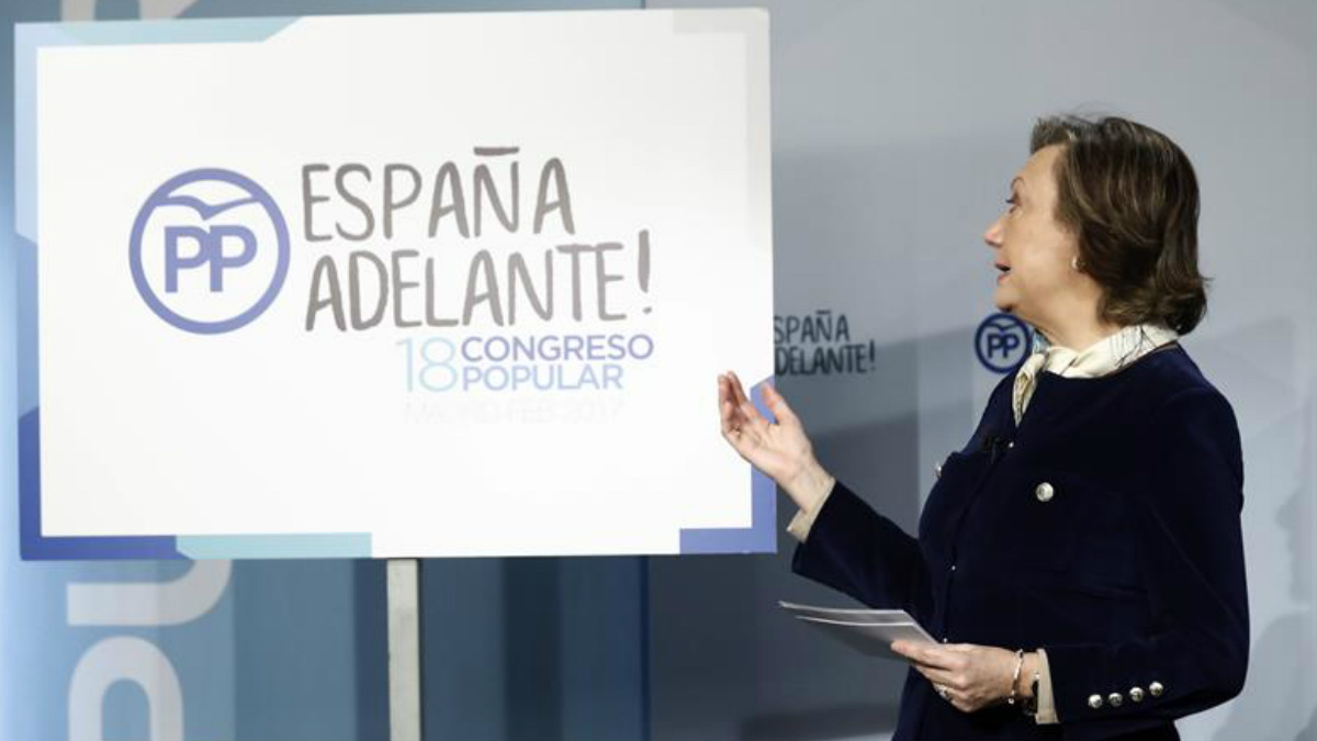 Luisa Fernanda Rudi presentando el lema escogido para el XVIII Congreso Nacional del Partido Popular. Foto: EFE