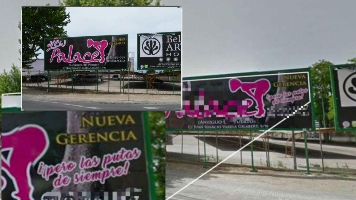 En grande la foto manipulada con el eslogan machista. En pequeño, la imagen real de la valla publicitaria del prostíbulo New Palace.