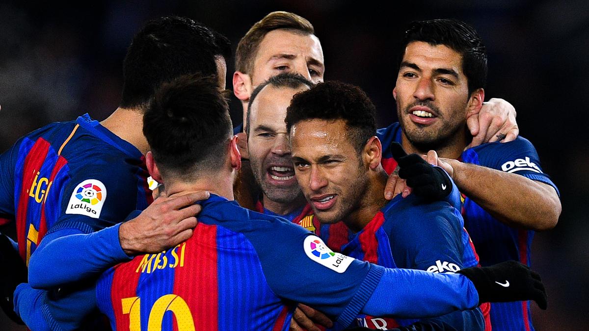 Neymar, celebrando el gol ante la Real Sociedad.