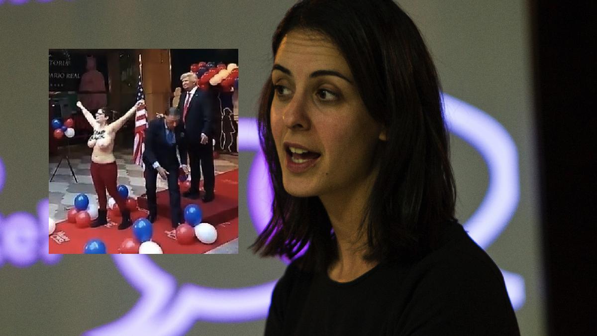 La política de Podemos Rita Maestre y la protesta en el Museo de Cera. (Foto: FK, TW)