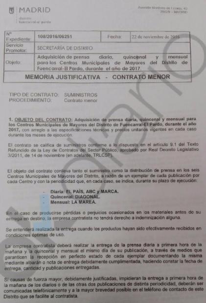Zapata suscribe a los 6 centros de jubilados de su distrito a las revistas podemitas 'La Marea' y 'Diagonal'