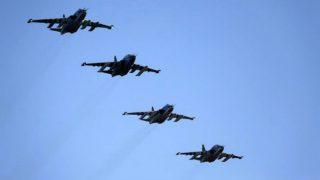 Aviones rusos atacando posiciones del ISIS en Al Bab (Alepo), en el norte de Siria.