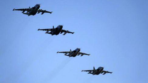 Aviones rusos sobrevolando Siria en una acción de ataque.