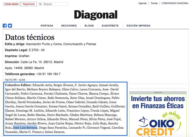 Zapata benefició a la revista podemita 'Diagonal' en la que trabaja un portavoz de Ahora Madrid