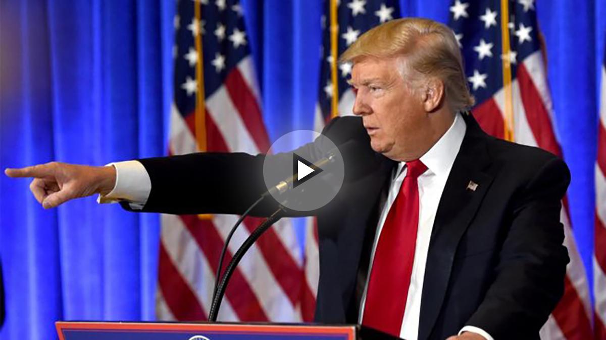 Donald Trump durante su primera rueda de prensa tras las elecciones. (Foto: AFP)