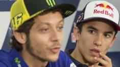 Valentino Rossi y Marc Márquez en una de sus últimas apariciones en público. (Getty)