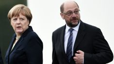 La canciller alemana Angela Merkel y Martin Schulz. (AFP)