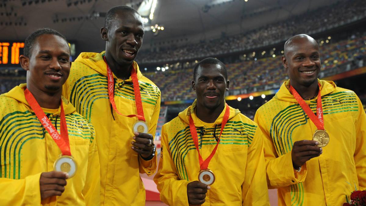 El equipo jamaicano de relevos en Pekín 2008. (AFP)