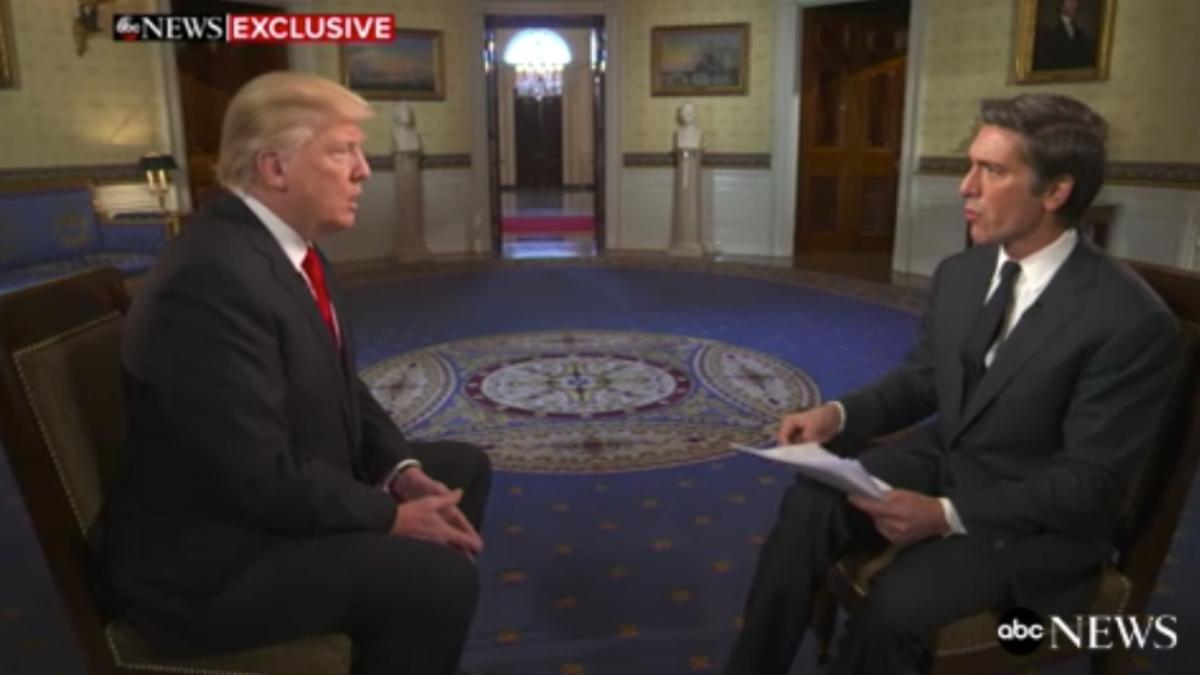 Donald Trump, en su entrevista con David Muir, de la cadena ABC.