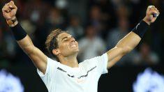 Rafa Nadal celebra su victoria ante Raonic. (Getty)
