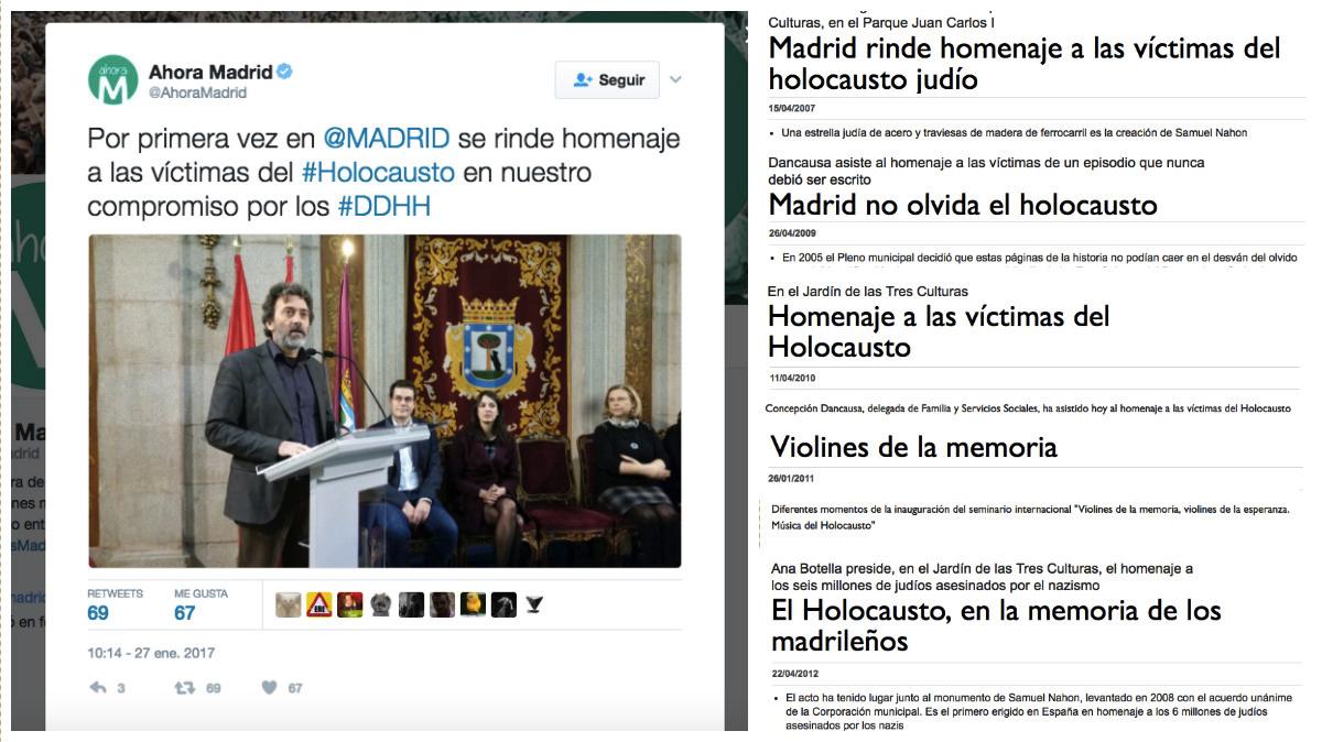 Tuit de Ahora Madrid y titulares de la hemeroteca.