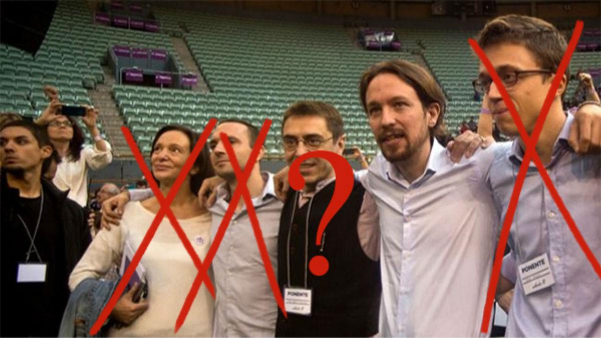 (I. a D.) Carolina Bescansa, Luis Alegre, Juan Carlos Monedero, Pablo Iglesias e Íñigo Errejón en Vistalegre I (Foto: Podemos)