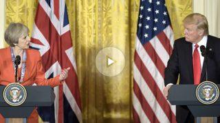 Theresa May y Donald Trump este viernes en la Casa Blanca (Foto: AFP).