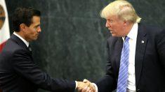 Peña Nieto y Trump se saludan en una imagen de agosto de 2016 (Foto: AFP).