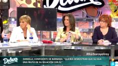 La jefa de Nacional de OKDIARIO, Sandra Fernández, en el plató de Sálvame Deluxe.