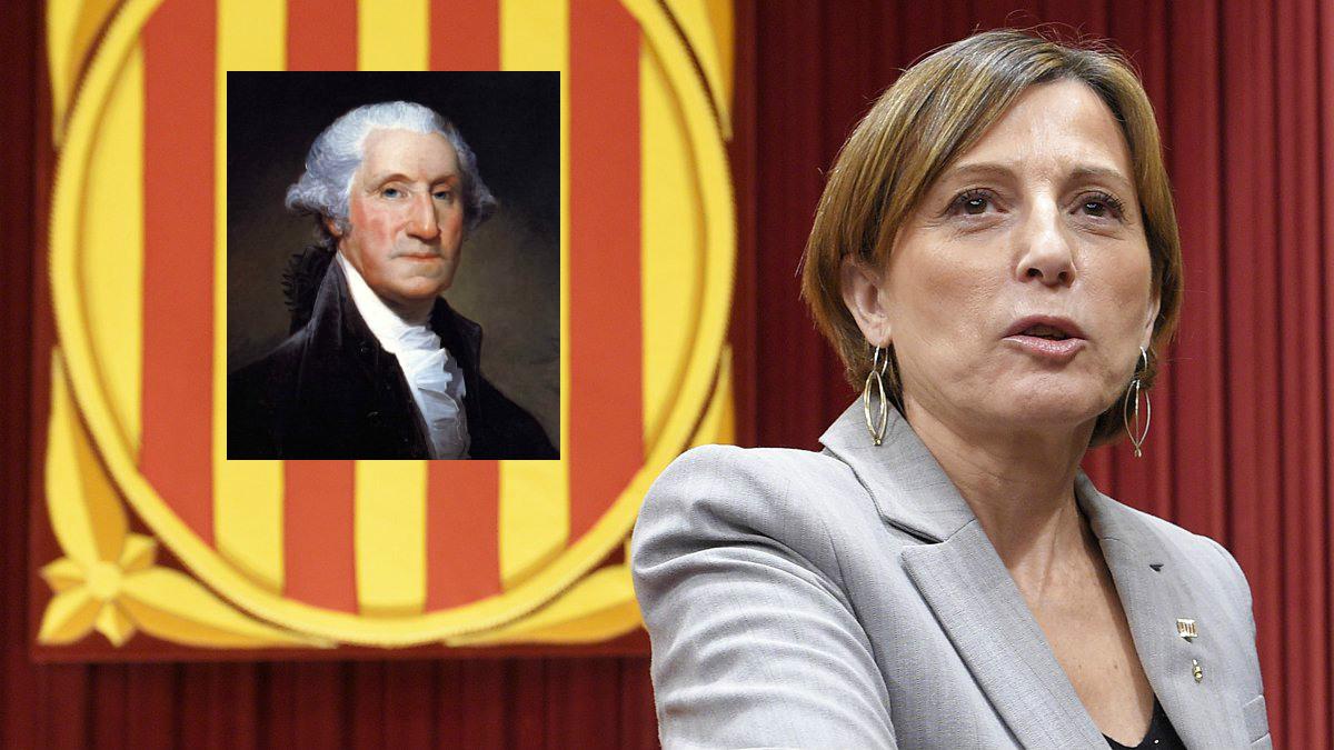 Carme Forcadell, presidenta del Parlamento de Cataluña, y Geroge Washington, primer presidente de EEUU.