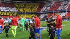 Mosaico en el Vicente Calderón en el Atlético vs Bayern