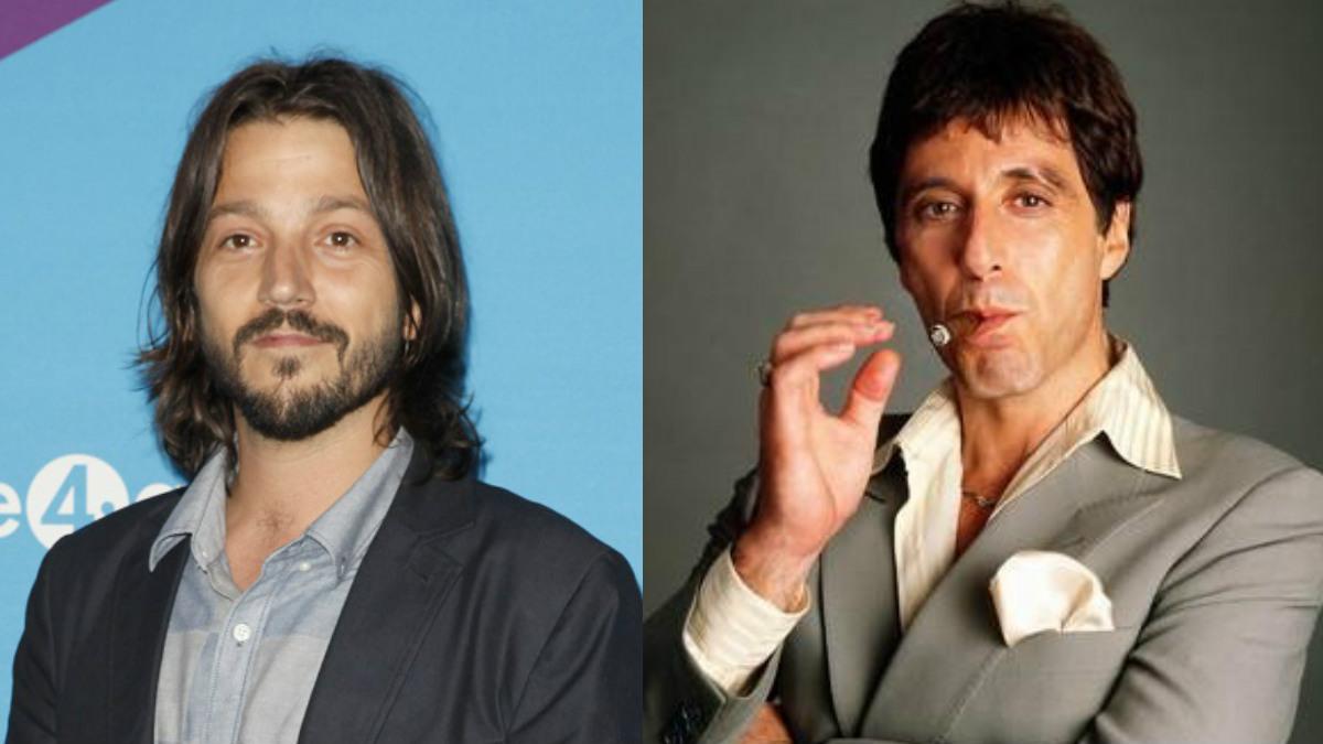 El actor Diego Luna y Al Pacino, interpretando a Tony Montana.