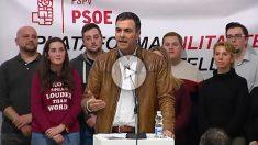 Pedro Sánchez se dirige a sus seguidores en Castellón.