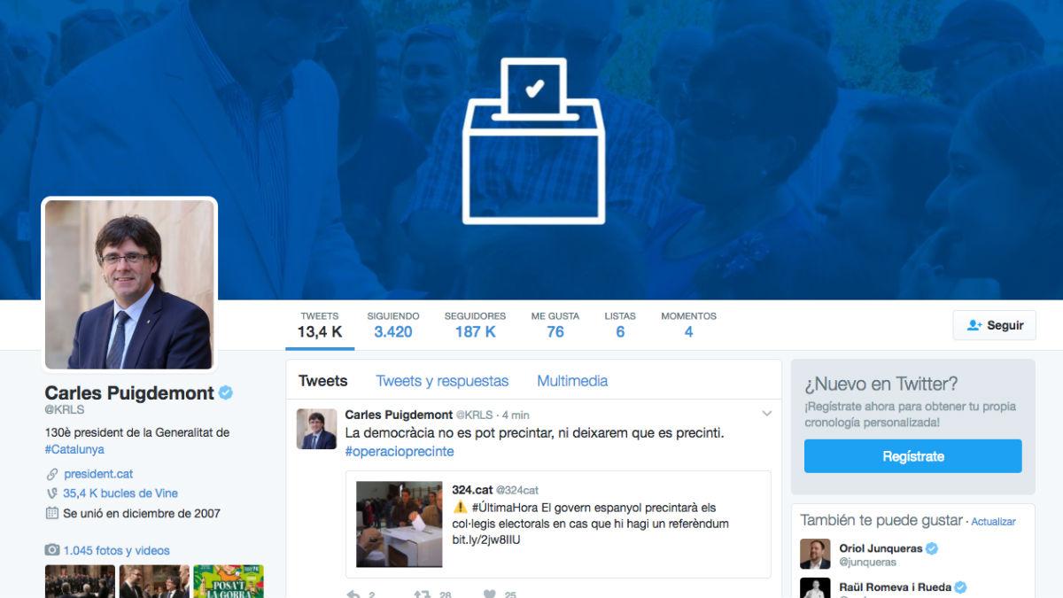 Perfil en Twitter del presidente de la Generalitat, Carles Puigdemont